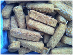 Breaded White fish fillets kebab stick 110-130g